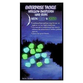 Enterprise Tackle Nightglow Sweetcorn Hair Stops Neonblau und Neongrün