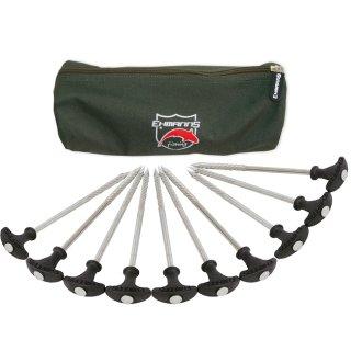 Ehmanns HOT SPOT Steel Bivvy Pegs, Länge 21 oder 30 cm, Zelt- Häringe Stahl + Tasche