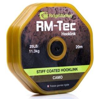 Ridgemonkey Tec Stiff Coated Hooklink Braid  25 lb. Vorfachmaterial Camo