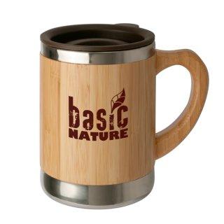 Basic Nature Edelstahlbecher Bambus Isolierbecher