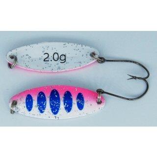 Paladin Trout Spoon Fancy Forellen Blinker Löffel, 2,0 g Farbe blau-weiss-pink, weiss-glitter