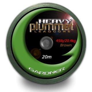 GARDNER HEAVY PLUMMET LEADCORE 45 LB (20,4 kg), 20m, braun oder grün
